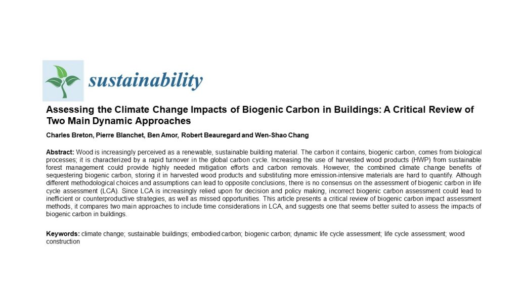 Assessing the Climate Change Impacts of Biogenic Carbon in Buildings: A Critical Review of Two Main Dynamic Approaches