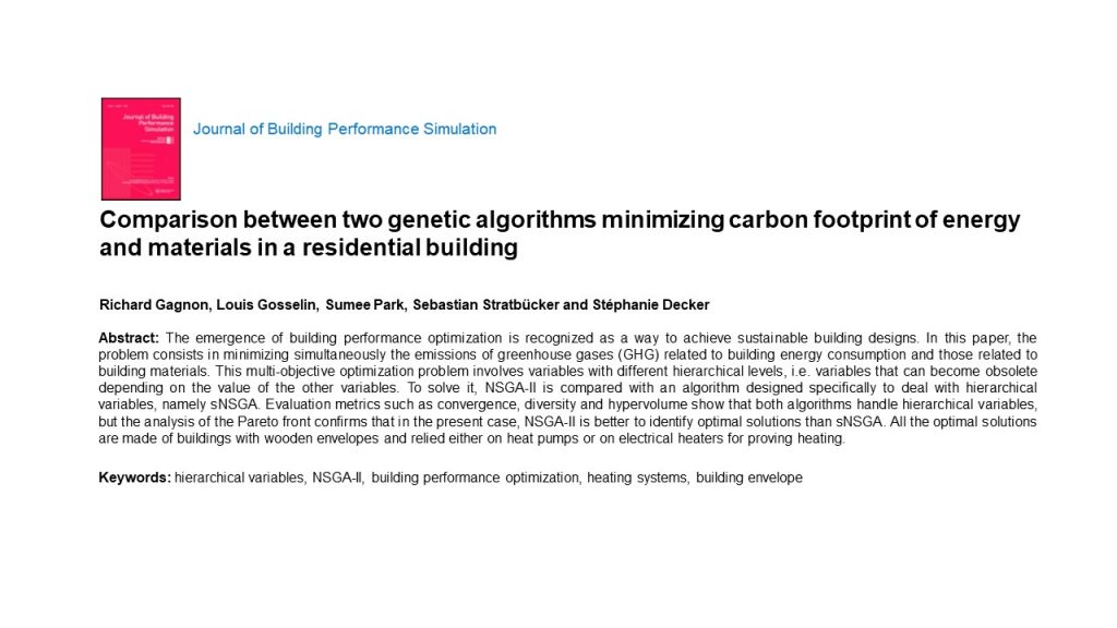 Comparison between two genetic algorithms minimizing carbon footprint of energy and materials in a residential building